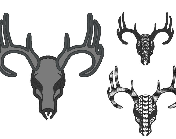 DEER BUCK SKULL - machine embroidery applique and filled designs for hoop 4x4, 5x7, 6x10