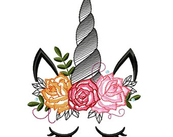 Unicorn drawing sketch embroidery design with shabby chick roses flowers crown applique machine embroidery designs Rainbow unicorn face