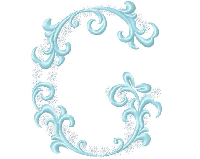 Frozen snow Christmas Individual letter G garden flag monogram snowflakes Font machine embroidery design 3, 4, 5, 6, 7, 8 in