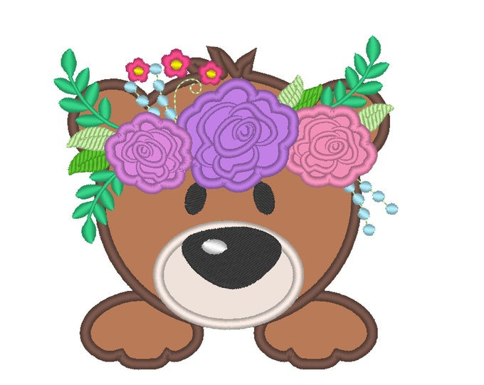 Bear face with shabby chick roses crown applique machine embroidery designs applique Bear flowers embroidery Bear head floral crown