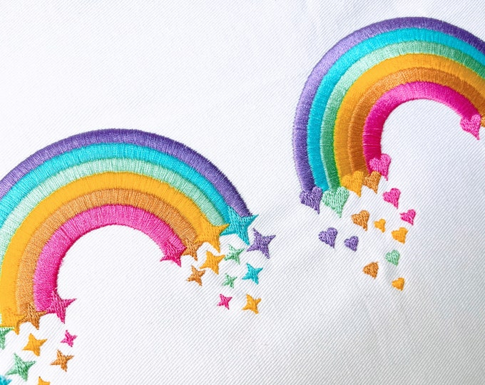 Cute Rainbows set of two, Rainbow with falling stars and rainbow with falling hearts rainbow machine embroidery designs, 3.5, 4 & 5 in