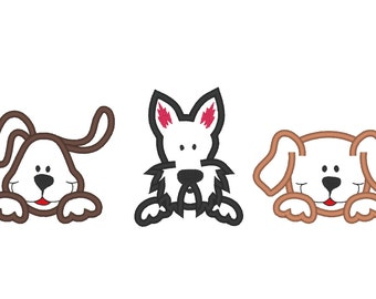Peeking cute 3 puppies - applique embroidery designs, multiple sizes  INSTANT DOWNLOAD