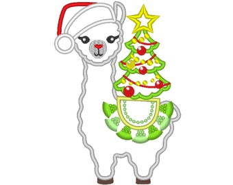Christmas tree llama applique embroidery Llama or alpaca with Santa hat and Christmas tree machine embroidery designs Merry Christmas