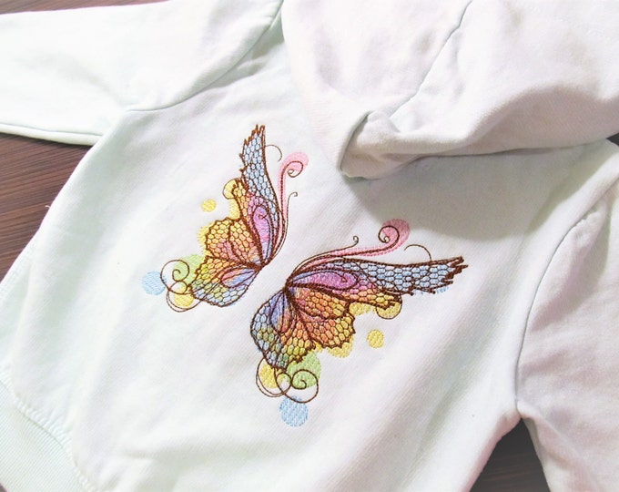 Baby classy watercolor butterfly wings, urban little baby, quick stitch outline, bean, simply awesome wings embroidery design 4x4 5x5 6x10