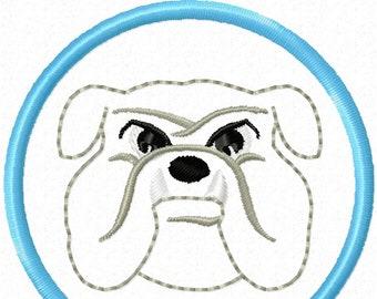 Bulldog Head in a circle 2 inch desig nmascot - machine embroidery design custom