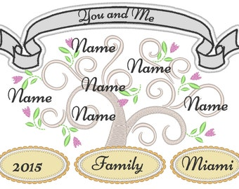 Fancy and romantic Tree of life, Family tree - machine embroidery designs - for hoop 5x7, 6x10, 8x12 and mini font