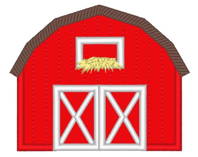 Simple small Barn applique, farm barn building, farm theme machine embroidery applique designs 3, 4, 5, 6in, Barn applique store hay gain