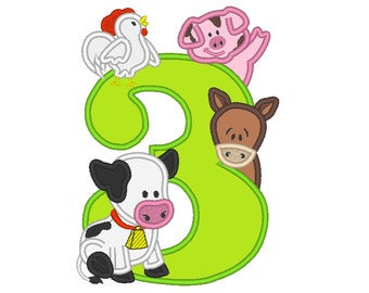 Farm birthday number THREE 3 with cow, pig, horse and rooster - cute farm theme machine embroidery applique design  5x7 6x10 assorted sizes