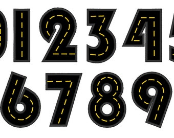 Road with wide satin stitch Numbers, machine embroidery applique designs - 3, 4, 5 and 6 inches INSTANT DOWNLOAD
