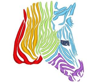 Rainbow zebra head - machine embroidery designs 4x4, 5x7 and 6x10 INSTANT DOWNLOAD