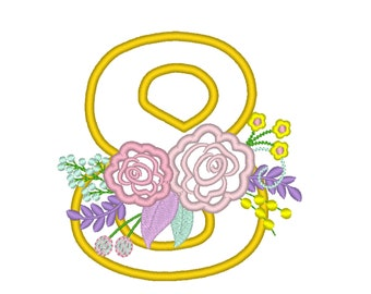 Farm Birthday number country style vintage french floral crown barn number EIGHT 8 machine embroidery design in assorted sizes