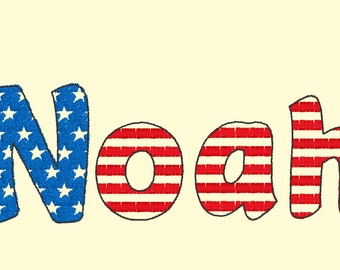 Patriotic 4th of July Stars and stripes Font light sketch outline machine embroidery font alphabet letters 1.5, 2, 3 BX, vp3, xxx, pes
