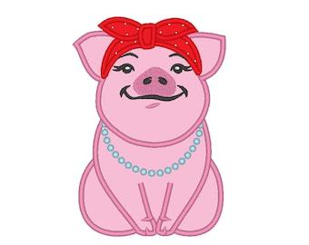 Piggie, pig with bandanna, awesome pig heifer, handkerchief pig applique embroidery designs 4, 5, 6, 7 inches