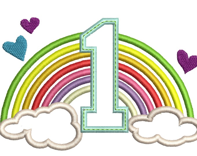 Cute Rainbow Birthday Number 1 ONE only machine embroidery applique designs, sizes NEW 4 inches 5, 6 and 7 inches