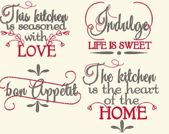Kitchen Towels Embroidery Designs Etsy
