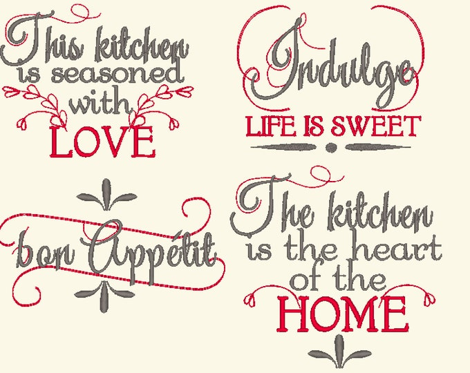 French vintage Kitchen lovely quotes - machine embroidery designs - 4x4 and 5x7 - kitchen towels embroidery collection  INSTANT DOWNLOAD
