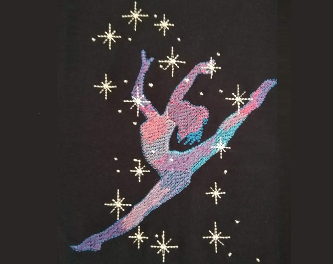 Gymnast Dancer sparkling silhouette embroidery, light fill stitch embroidery design hoop 4x4, 5x7, 6x10  INSTANT DOWNLOAD