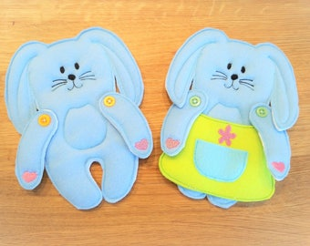 """Paper-doll Bunny and clothing In the hoop felt simply project, ITH embroidery design - great for gifts """"In The Hoop"""" and embroidery designs"""