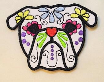 English bulldog Little Sugar Skull applique design, dog skull embroidery,  4x4, 5x7