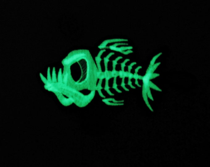 Piranha fish bare bone / Fish skeleton / Glow in the dark special designed machine embroidery and in the hoop feltie