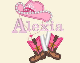 Cowgirl baby girl name and font included! - machine embroidery applique designs 4x4, 5x7 INSTANT DOWNLOAD