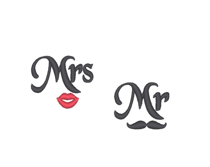 Face mask MINI sizes Mr and Mrs for facemask small embroidery designs with small heart - great for wedding mask machine embroidery