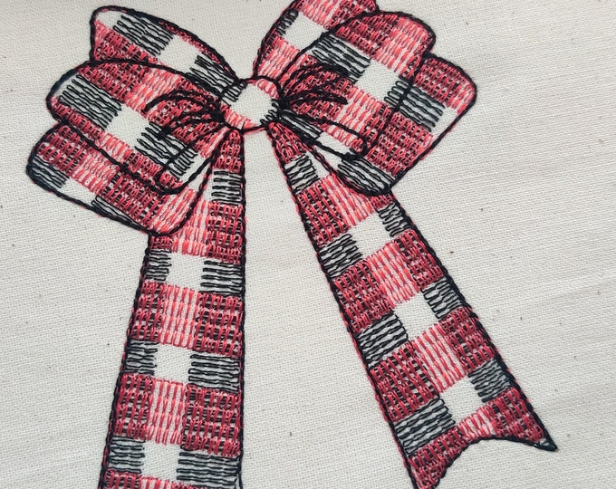 Gingham Checked plaid Christmas bow machine embroidery design assorted sizes Christmas decoration 2, 3, 4, 5, 6, 7 and 8 inches