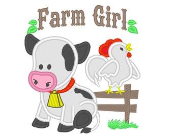 Cow Farm Chicken Farm Gilr, cow applique - cute farm girl theme machine embroidery applique designs 4x4,  5x7, 6x10