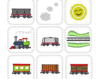 """Memory game """"Train"""" In The Hoop machine embroidery design for hoop 4x4, 5x7 and 6x10 INSTANT DOWNLOAD children game train railway locomotive"""
