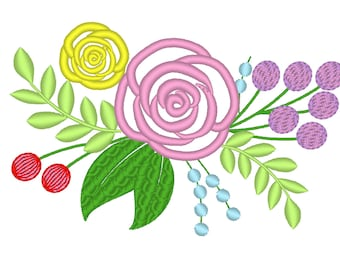 Shabby Chic Flowers Bouquet - machine embroidery applique designs for embroidery hoops 4x4 and 5x7 floral crown, rose applique, rose floral