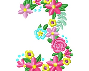 Floral letter Birthday number THREE flowers liberty fashioned flowers Font machine embroidery design number 3 only 4, 5, 6, 7, 8 in