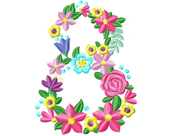 Floral letter Birthday number EIGHT flowers liberty fashioned flowers Font machine embroidery design number 8 only 4, 5, 6, 7, 8 in