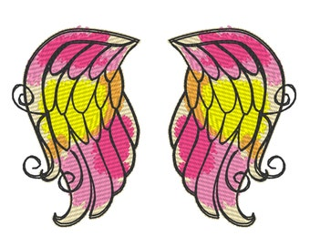 Baby classy watercolor angel wings, urban little baby, quick stitch outline, bean, simply awesome wings embroidery design 4x4 5x5 6x10