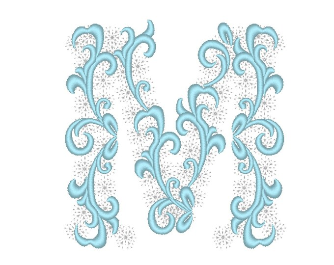 Frozen snow Christmas Individual letter M garden flag monogram snowflake Font machine embroidery design 3, 4, 5, 6, 7, 8 in INSTANT DOWNLOAD