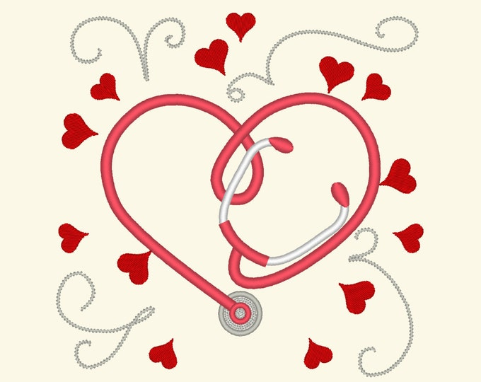 Stethoscope embroidery, doctor and Nurse Stethoscope heart, heartbeat embroidery designs - 3, 4, 5 inches