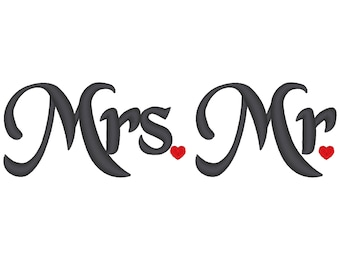 Mr and Mrs - Elegant heart - great for wedding gifts - machine embroidery designs - 4x4, 5x7
