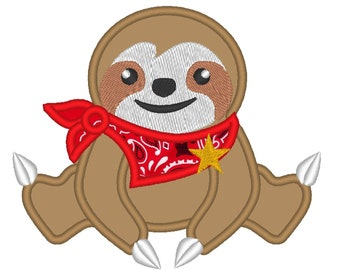 Farm Sloth, cowboy boy sloth applique designs, Sloth Embroidery Applique Design 4x4 5x7