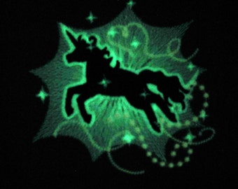 Unicorn glow in the dark special machine embroidery designs sizes 4x4 and 5x7, magic unicorn horse licorne for girls INSTANT DOWNLOAD