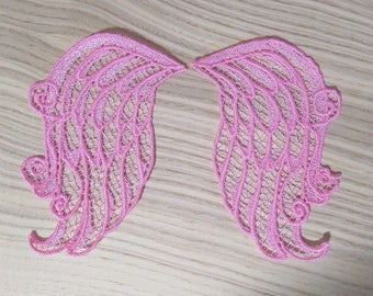FSL, Free standing angel wings embroidery designs 4x4 and 5x7  Used with water soluble stabilizer Little angel wings lace embroidery FSL