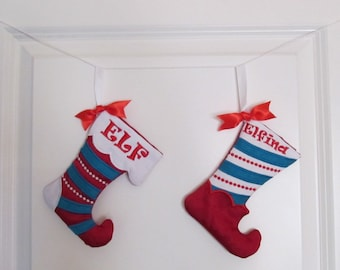 Christmas Stockings - In The Hoop Machine Embroidery Applique design all done In-The-Hoop, for hoops 5x7 and 6x10