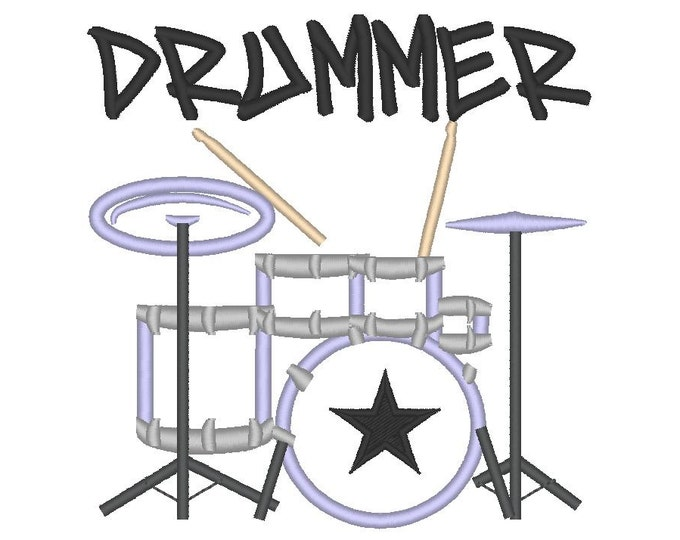 Drummer and drum - machine embroidery applique design, 4x4, 5x7 and 6x10 INSTANT DOWNLOAD
