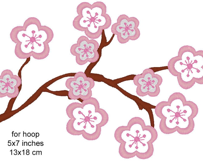 Cherry Blossom - uses everywhere - machine embroidery applique and fill designs - corner, border and full INSTANT DOWNLOAD 4x4, 5x7, 6x10