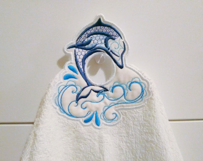 Dolphin In The Hoop machine embroidery design, ITH project Towel topper, hanger, hanging hole embroidery