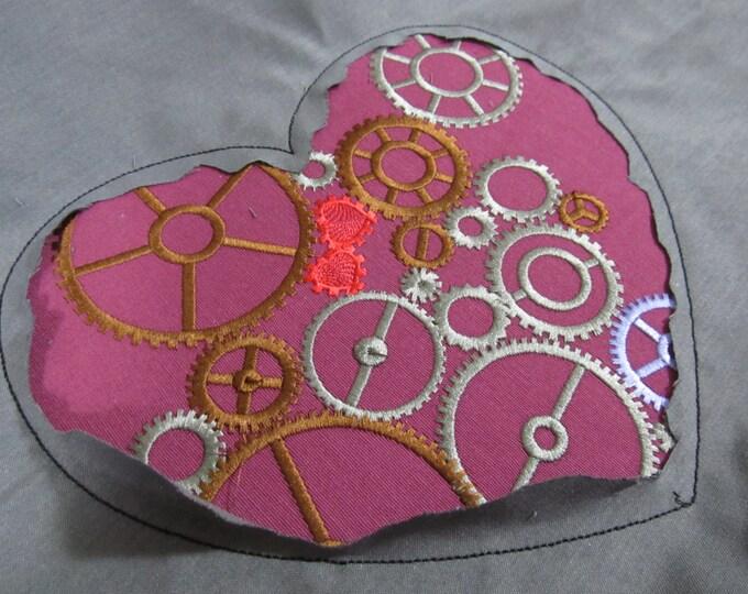Stempunk heart, steampunk gears collection, gear, gear steam-punk embroidery designs 5*7 and 6*10, 8x12