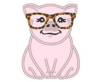 Leopard glasses Piggie, pig, awesome piggy farm animal girl piglet applique machine embroidery designs multiple sizes 4, 5, 6, 7 farm design