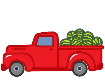 Summer farm Vintage station wagon red truck back, truck with watermelons machine embroidery applique designs