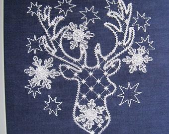 Frozen Deer, deer glow, deer sparkle, deer Christmas glow in the dark, Glow in the dark special designed machine embroidery