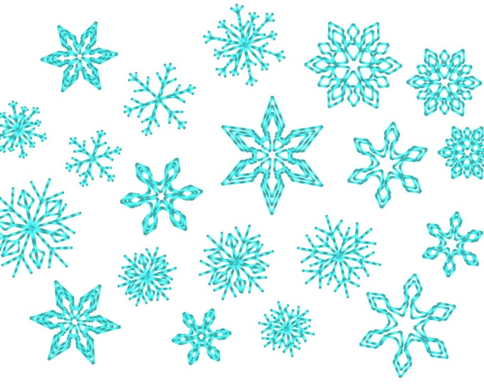 Micro mini small 8 single Snowflakes  - machine embroidery design - files in mini sizes 0.45, 0.6, 0.8 inch sizes small snowflake INSTANT