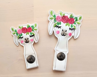Roses Floral crown llama head, alpaca head with flowers, ITH key fob, mini embroidery design, key fobs feltie in the hoop embroidery project