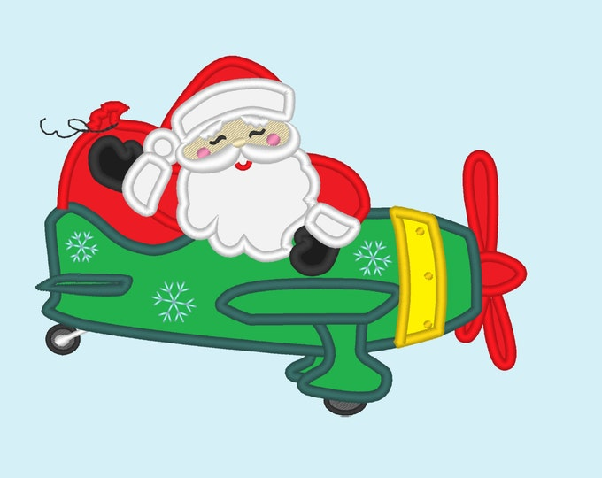 Santa on Christmas Airplane - machine embroidery design - Santa applique embroidery applique design